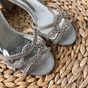 a4c2c752d3d Badgley Mischka Shoes - Badgley Mischka Sonya silver diamond drill fabric